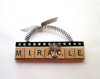 Menorah Hanukkah Scrabble Tile Ornament