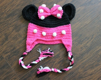 Minnie Mouse Beanie, Baby Girl Crochet Beanie Hat, SIZE 3 - 12 MONTHS