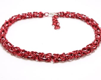 Red Chain Dog Collar. Red Chain Maille Cat Collar with Pink Chain Accents. Small Dog Chain Collar. Red Chain Collar. Red Dog Collar