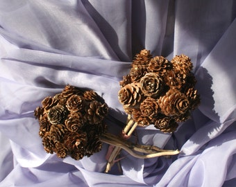 Two Bridesmaids Pine Cone Bouquets