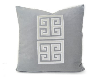 Grey Pillow Cover - Velvet Greek Key Pillow Cover in Grey and Off-White