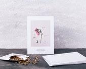 Hollyhocks Postcard With Seeds. Botanical Art