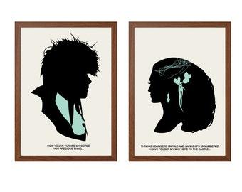 LABYRINTH | How You've Turned My World Poster : Jareth + Sarah Modern Illustration Retro Art Wall Decor