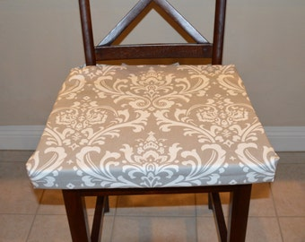 Grey And White Cotton Damask Print Fabric Chair Cushion Cover Washable Removable