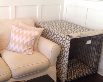 Blue and Tan Custom Dog Kennel Cover, Crate Cover, Dog Crate Cover, Made To Order, You choose the size