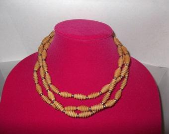 Vintage Tribal, Artisan Wood Necklace, Three strand.