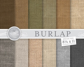 "BURLAP Digital Paper: NATURAL Burlap Patterns Print, Burlap Download, 8 1/2"" x 11"" Burlap Paper Pack Pattern Scrapbook Prints"