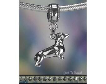 Dachshund Charm or European Style Charm Bracelet .925 Sterling Silver