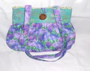 Handmade handbag, fabric handbag, purple handbag, fabric shoulder bag, womens handbag, womens shoulder bag, medium handbag, inner zip pocket