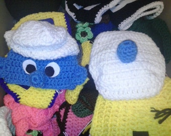 Crochet Smurf diaper set, newborn photo prop, newborn photography, smurfy, Smurf hat, smurf diaper cover, blue, crochet Smurf outfit, baby