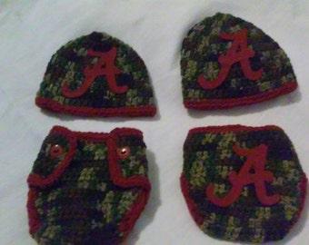 Crochet Alabama diaper set in camouflage, crochet newborn Alabama diaper set, Bama crochet diaper cover,newborn Alabama diaper cover, AL hat
