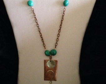 WHAT! Necklace, copper,silver and turquoise