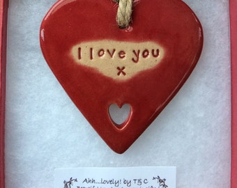 I love you handmade ceramic hanging heart, perfect gift