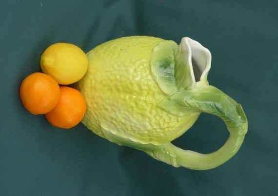 50s kitsch majolica lemonade jug pitcher novelty lemon for Lemon shaped lemonade stand