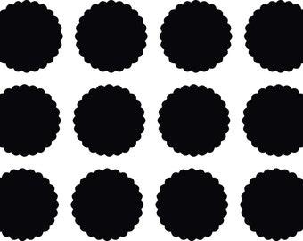 Scalloped Chalkboard Mason Jar Labels - Set of 12 Self-Adhesive Kitchen Labels
