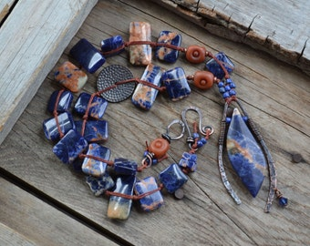 Rustic Bohemian necklace, Midnight blue necklace, Tribal gemstone necklace, Chunky necklace, Copper and stone necklace, Ethnic inspired