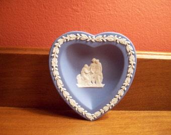 "Vintage Wedgwood Blue Jasperware Heart Shaped Dish - Made in England - ca. 1980""s"