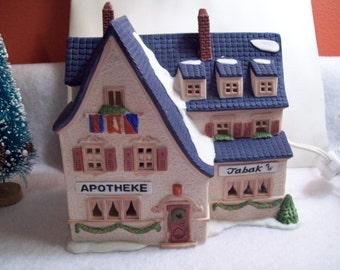 "Vintage Dept 56 Heritage Village Collection - Alpine Village Series ""Apotek and Tabak"" Hand Painted Building"
