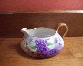 Beautiful Vintage Hand Painted Porcelain T & V Limoge France Creamer