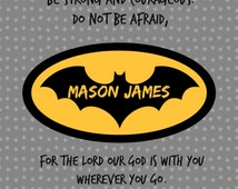 Personalized Scripture Art for Child/Baby, Super Hero, Child Dedication Art, Baby Dedication Gift, Batman Art, Super Hero Art for Baby/Child