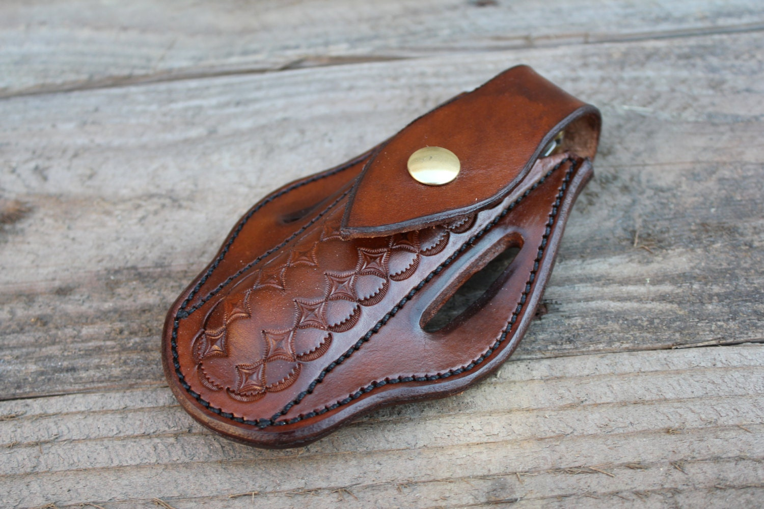 Custom Leather Knife Sheath for Large Folding Knives by TIN