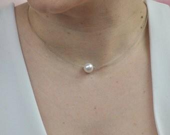 Necklace a solitary Pearl Swarovski, ras neck for bride, wedding jewelry