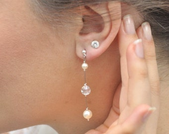 Bridal earrings, beads and crystals - wedding jewelry
