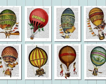 Set of 8 Hot Air Balloon Prints,  Balloon Illustration wall art wall decor wall hanging balloon picture, hot air balloon decor