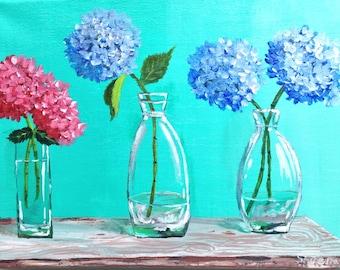 Hydrangeas- Still Life-Acrylic on Canvas-Modern Colorful, Cyan, Aqua 12x9