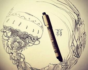 "Jellyfish wave art original pen illustration 11.75x15.75"". free shipping. Unframed. (fits ikea frame)"