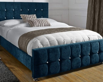 Jacobs Upholstered Crystal Buttoned Chenille 4ft6 Double, 5ft King Size, 6ft Super King Bed Frame
