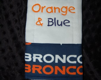 Denver Broncos NFL football 6 ply burp cloth I drool Orange and Blue baby shower gift