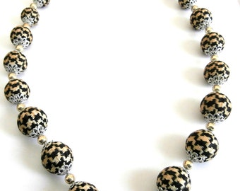 Vintage Brown Black Hounds Tooth Graduating Fabric Covered Beaded Necklace Gold Tone Bead Spacers  Retro 1940's Jewelry