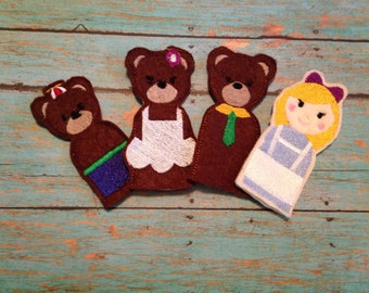 Goldilocks and the 3 brears Finger puppets. Set of 4
