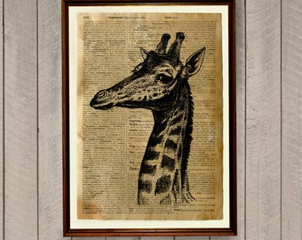 Giraffe poster African animal print Savanna decor Dictionary page WA161