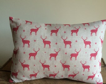 Beautiful CUSHION Cover   in PEONY  and  SAGE Red Stags fabric