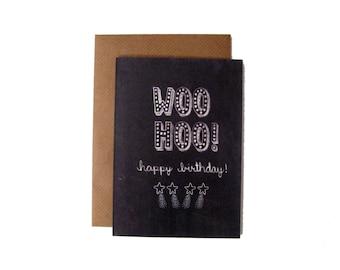 Woo Hoo! Happy Birthday! Name in Lights Chalkboard Card