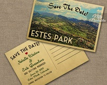 Estes Park Save The Date Postcards - Printable Estes Park Colorado Postcard - Retro Rocky Mountain Save The Date Cards VTW