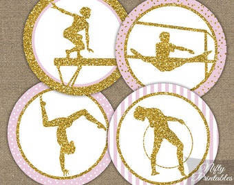 Gymnastics Cupcake Toppers - Pink & Gold Glitter - Glitter Party Printables - Gymnastics Topper - Gymnast Tags Stickers - PGL