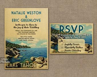 Lake Tahoe Wedding Invitation - Printable Vintage Tahoe Wedding Invites - Lake Tahoe Nevada California Wedding Suite or Solo VTW