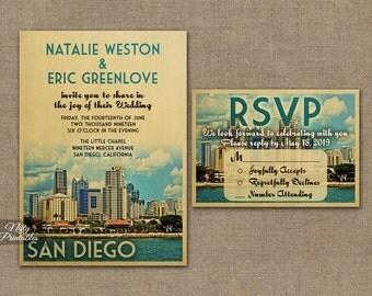 San Diego Wedding Invitation - Printable Vintage San Diego California Wedding Invites - San Diego Cali Retro Wedding Suite or Solo VTW