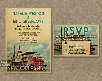 New Orleans Wedding Invitation - Printable Vintage New Orleans Louisiana Wedding Invites -  NOLA Retro Paddle Boat Wedding Suite or Solo VTW