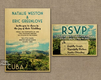 Cuba Wedding Invitation - Printable Vintage Cuban Wedding Invites - Cuba Wedding Set or Solo VTW