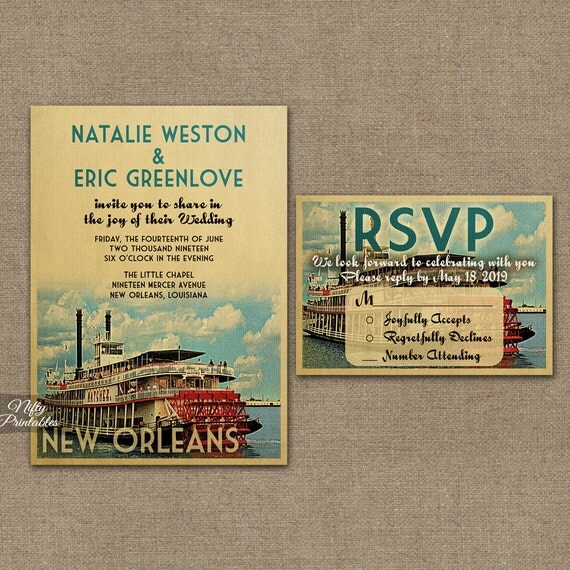 New Orleans Wedding Invitation Printable Vintage New Orleans