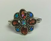 Size 6.75 Sterling Silver 925 Blue Opal 1cts Garnet Princess Victorian Ring Band
