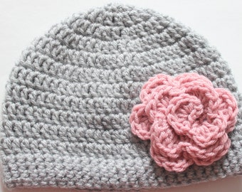 Baby Girl Hat, Toddler Girl Hat, Newborn Girl Hat, Grey with Pink Flower