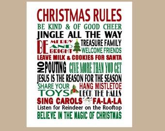 Christmas Rules Subway Art - Christmas Printable Wall Art - Holiday Wall Art - Instant Download