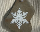 One-of-a-kind Snowflake Ornament Hand-painted on Free-form Vintage Slate