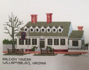 "Handmade unframed cross stitch ""Raleigh Tavern"""