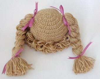 Light Brown Cabbage Patch Kid Hat Inspired Wig Or Choose your color Braid Pigtail Style Newborn to Adult